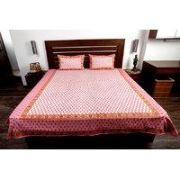 Jodhaa Cotton Printed Allover White, Pink & Orange Double Bedsheet