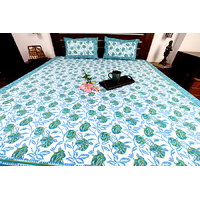 Jodhaa Set Cotton Printed In White, Blue & Green Double Bedsheet