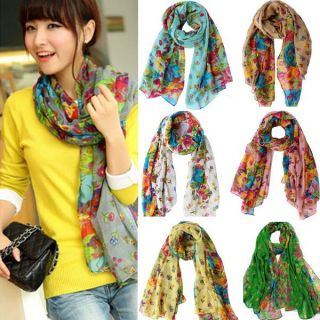 Veronique brand - Multicolored Printed Georgette Stole/Scarf - 2 Qty-Assorted