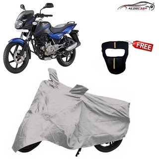 De AutoCare Premium Silver Matty Two Wheeler Bike Body Cover For Bajaj Pulsar 150 With Freebie Face Mask