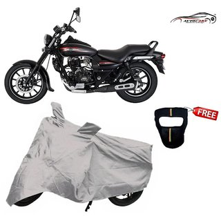 De AutoCare Premium Silver Matty Two Wheeler Bike Body Cover For Bajaj Avenger With Freebie Face Mask