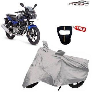 De AutoCare Premium Silver Matty Two Wheeler Bike Body Cover For Bajaj Pulsar 220 With Freebie Face Mask