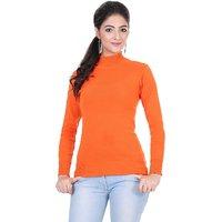 Renka Knitted Winter Pullover top - Orange Color - Women causal Wear