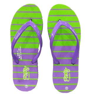 Foxy New TT Purple & Green Women's Flip Flops