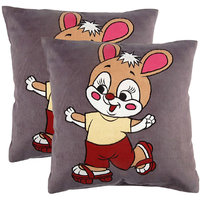 Grey Manpho Baby Bunny Embroidery Kids Cushion Cover Set Of 2