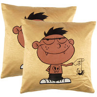 Yellow Manpho Naughty Boy Embroidery Kids Cushion Cover Set Of 2