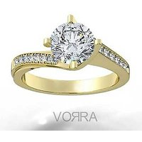 Vorra Fashion White CZ 14K Gold Plated Solitaire W/ Accent Ring in Silver 925