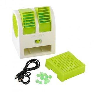 Portable Green Mini Air Conditioner Dual-Port Fan