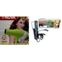Combo Of Professional Hair Dryer -2000W With Ceramic Hair Strightener -NHC-522