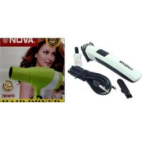 Combo Of Professional Hair Dryer -2000W With NOVA Rechargeable Hair Trimmer 1Pcs