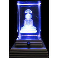 Vastu / Fang Shui / Crystal Buddh With Light Base Stand For Peace Of Mind & Happ