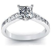 Vorra Fashion Platinum Over Princess Cut White CZ in 925 Silver Engagement Ring