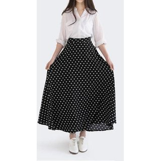 Rosella Black with White Polka Dotted Long Skirt