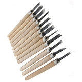 12pcs Wood Handle Carpenters Carving Mini Chisels Lathe Kit DIY Handy Tools 1Se
