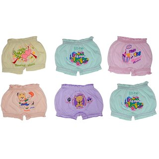 Printed Multicolour Bloomers For Kids (Pack of 6)