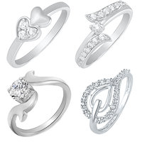 Mahi Silver  White Casual Rhodium Plated Alloy Cubic Zirconia (Cz) Contemporary Ring (Combo Of 4)