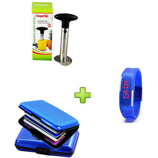 Stainless Steel Pineapple Cutter And Blue Aluma Wallet With Free LED Jelly Slim Digital Trendy Watch