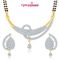 MEENAZ  GLORIUS CZ GOLD AND RHODIUM PLATED MANGALSUTRA SET MSPT109