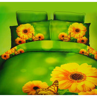King Size Ploy Cotton 3D Print BedSheets With Two Pillow Covers
