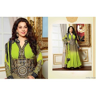 Trendy Dazzling Diva Brown & Olive Green Faux Georgette Salwar Kameez