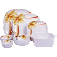 Diamond Crockery 34 Pcs Dinner Set - Flower Apple Brown