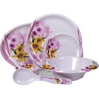 Diamond Crockery 34 Pcs Dinner Set - Flower Omega Yellow