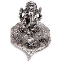 Naysha Arts Silver Big Ganesha Idol And Diya On Patta