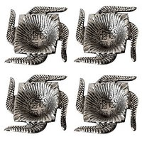 Naysha Arts White Metal Diya - Set Of 4 Swastik Deepak