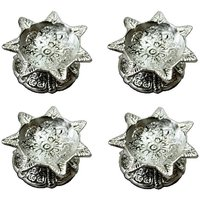 Naysha Arts White Metal Sabtbati Diya - Set Of 4 Deepak