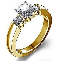 Vorra Fashion Ladies White 3 Stone 14K Gold Plated Engagement Ring in Silver 925