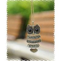 Cinderella Long Chain Owl Pendant Necklace