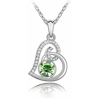 Cinderella White Gold Plated Green Crystal Rhinestone Necklace