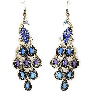 Cinderella Purple & Blue Stone Peacock Earrings