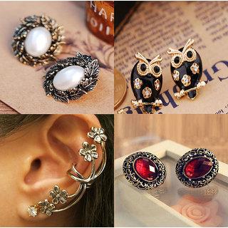 Cinderella Elegant Three Pair Of Earrings  & One Single Ear Cuff Combo