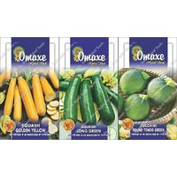 Omaxe Exotic Squash Long Golden Yellow + Long Green + Round Green Seeds