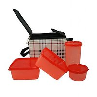 Detak KitchenKraft Lunch Box With 4 Pcs. Food Grade Containers And Insulated Bag