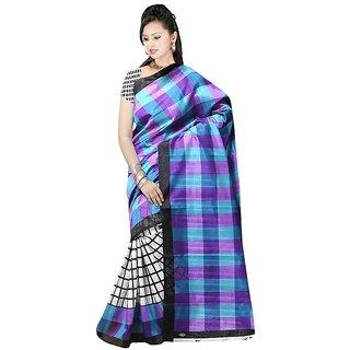 Svb Sarees Multicolor Checks Bhagalpuri Silk Saree With Blouse
