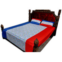 SleepSmart Red & Blue Printed Designer Bedsheet With Pillow Covers