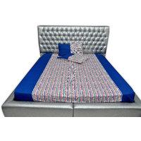 SleepSmart  Blue& Stripes  Printed Designer Bedsheet With Pillow Covers