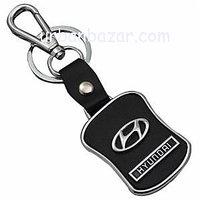 Hyundai Black Leather Keychain
