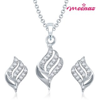 MEENAZ WELL CRAFTED RHODIUM PLATED CZ PENDANT SET PT123