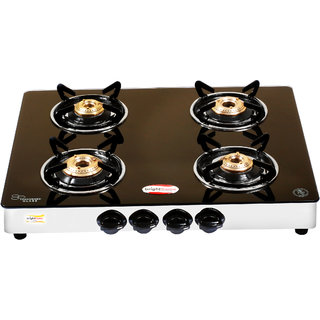 brightflame 4 Burner Black Glass Stove - Tulip Series
