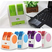 USB Cooler Mini Small Dual Bladeless Portable Adjustable Angles Scented Air USB Cooler -MultiColours