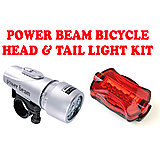 Gadget Hero's Power Beam LED Head & Tail Light Kit For Bike Bicycle Cycle Torch Headlight Lamp. 5 LED Head Light with 2 Modes + 6 LED Rear Light with 6 Modes