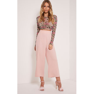 Women's Blush Pink High Waist Polyester Culottes Pant