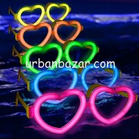 Neon Glow Heart Shape Eyeglasses / Goggles -(Pack Of 5pcs) Perfect Gift New Year