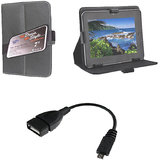 7 Inch Tab Flip Cover Black Leather For Videocon Vt85c With Free OTG Cable