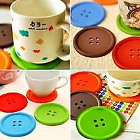 Round Silicone Coasters Cute Button Coasters Cup Mat 6 Pcs