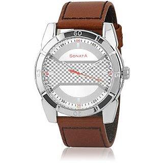Sonata Round Dial Multicolor Leather Strap Quartz Watch For Men