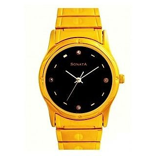 Sonata Round Dial Multicolor Metal Strap Quartz Watch For Men